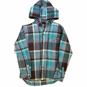 Quicksilver Boys Button Up Hooded Flannel